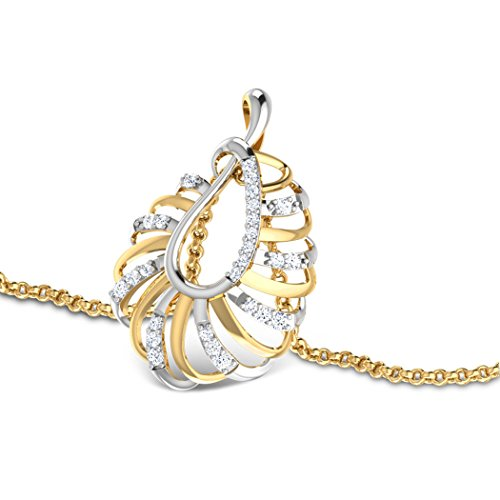 14K Or blanc 0,15CT TW Round-cut-diamond (IJ | SI) Pendentif