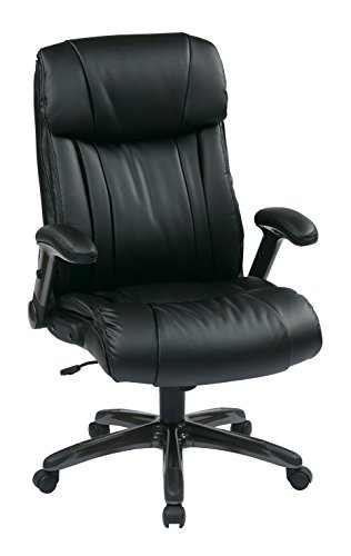 Office Star High Back Bonded Leather Executives Chair with Padded Flip Arms and Titanium Coated Accents, Black - Office Star Work Smart Wood