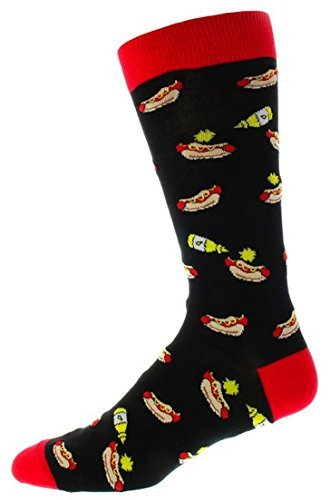 Fine Fit Mens Color Cotton Fancy Pattern Socks (1 Pair) (Hot Dogs on Black)