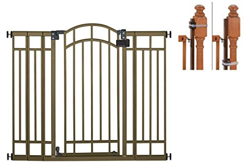 Summer Infant Multi-Use Deco Extra Tall Walk-Thru Gate, Bronze with Banister Installation Kit by Summer Infant