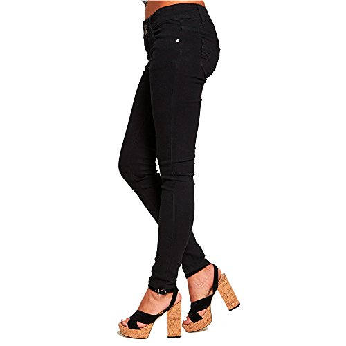 Stretch Wash Skinny Jeans Denim Fit Simply Chic Mid Outlet Black New Womens Distressed Blue xZnC0p