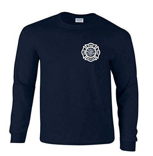 Duty Chest (Fair Game Fire Rescue Firefighter Duty Chest Print Long Sleeve T-Shirt-Navy-2x)