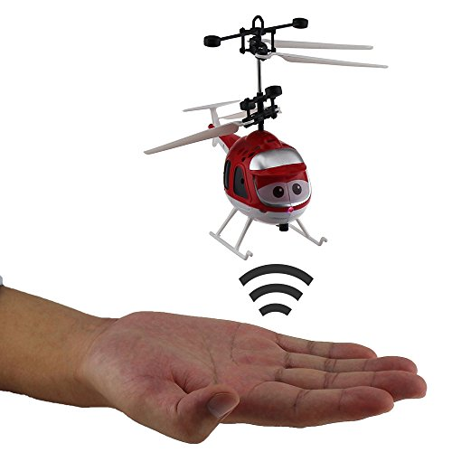 Tipmant Mini Infrared Induction Helicopters Hand Sensor Airplane Aircraft Kids Electric Toy Gift (No Remote Control) – Red