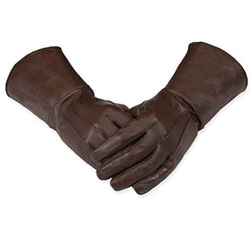 Leather Gauntlet Gloves Long Arm Cuff (Brown, Medium)