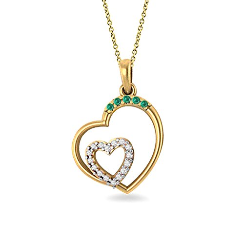 14K Yellow Gold 0.12 Ct. Real Natural Round Cut Green Emerald & Diamond Love Double Heart - Green Heart Natural Stone Necklace