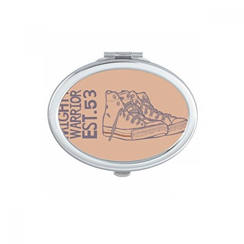 Hand Painted Canvas Shoes Illustration Oval Compact Makeup Mirror Portable Cute Hand Pocket Mirrors Gift