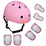 LANOVAGEAR Kids Child Adjustable Cycling Bicycle Protective Gear Set 7pcs Toddler Helmet Elbow Knee Wrist Pads for Multi Sports Skateboarding Rollerblading Bike (Pink, Small)