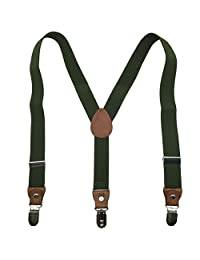 Kids Baby Boys Girls Elastic Adjustable 1 inch Suspenders Multi Colors (Army Green(3clips))