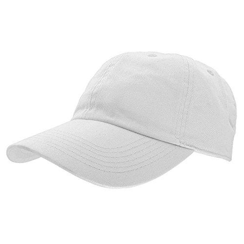 White Cotton Cap (Falari Baseball Cap Hat 100% Cotton Adjustable Size)
