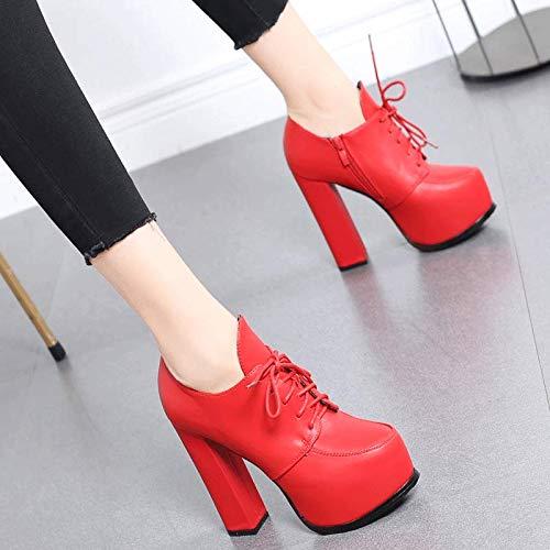 HRCxue Pumps Rote High Heels Mode Wasserdichte Plattform Hochzeit Schuhe Spitze Kurze Stiefel weiblich dick mit Martin Stiefel 37 rot