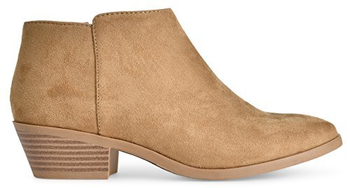 Soda Women's Western Ankle Bootie w Low Chunky Block Stacked Heel Natural Faux Suede