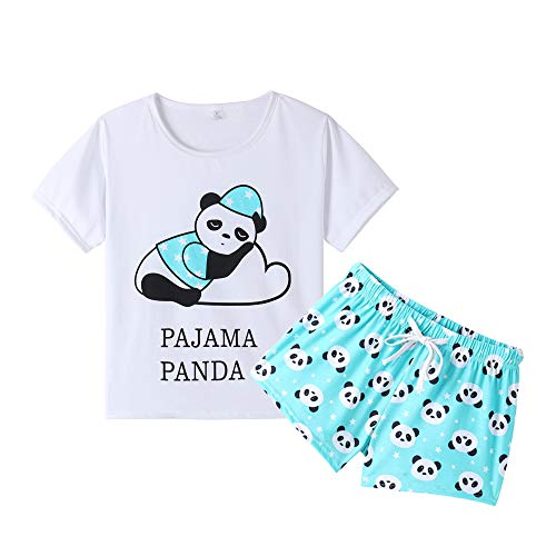 080160d8f YIJIU Women Short Sleeve Tee and Shorts Pajama Set Cute Cartoon Print  Sleepwear Green