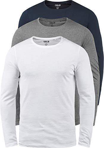 cotone scollo Solid Shirt Basal T box per lunga 100 Basic multipack 1 3er uomo rotondo con manica cryrvK