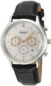 Fossil FS4640 - Reloj para hombres, correa de cuero color negro