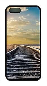 iPhone 5 5S Case Train tracks and clouds TPU Custom iPhone 5 5S Case Cover Black