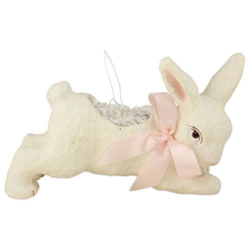 Bethany Lowe Sweet Easter Bunnies Ivory Running Bunny Bucket, 12