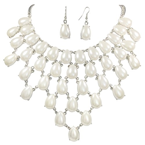[Teardrop Cluster Statement Bib Boutique Style Necklace & Earrings Set - Assorted colors (White Imitation Pearl - Silver] (Little Girl Gypsy Costumes)