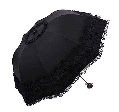 Heart Princess Lace Twice Folding Umbrella Ultraviolet-Proof Umbrella/Sun UV protection umbrellas (black) ()
