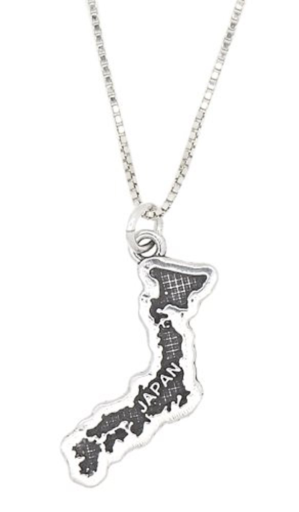 Sterling Silver Travel Country Map of Japan Pendant Necklace (16 Inches)