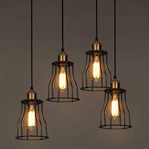 TJLSS Industrial Pendant Light Simplism Vintage Bedroom Hanging Ceiling Lamp with Metal Cage Retro Pendant Lighting Fixtures