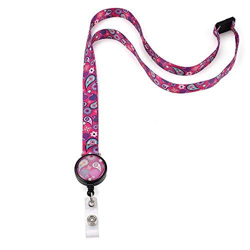 Grekywin Dark purple Lanyard Keychain, ID Badge Holder, Card Holder for Business Id/key/cell Phone