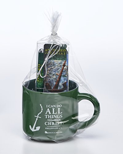 Anchored in Christ Green 3 Piece Ceramic Mug, Pen, Bookmark Gift Set by Christian Tools Affirmation