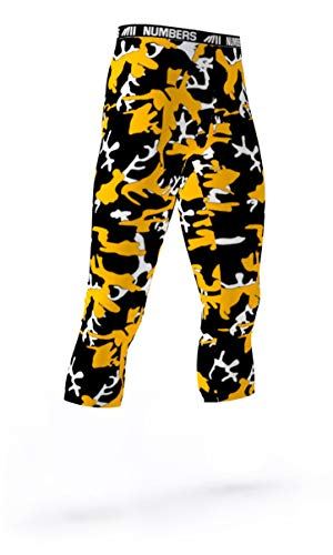 (Numbers Athletics 3/4 Length Tights- Chemical Sting (Black, Yellow, White) Boys Mens Girls Womens Basketball Football Compression Tights Sports Pants Baselayer Running Leggings to Match Uniforms)