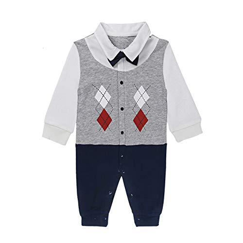 Hat Boys Christening Suit - Yilaku Baby Boy Outfits Set, 3pcs Long Sleeves Gentleman Jumpsuit & Vest Coat & Berets Hat with Bow Tie(18-24Month-Navy) Gray