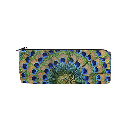 ALAZA Peacock Feather Pencil Pen Case Pouch Bag with Zipper for Girls School Student Stationery Office Supplies ()