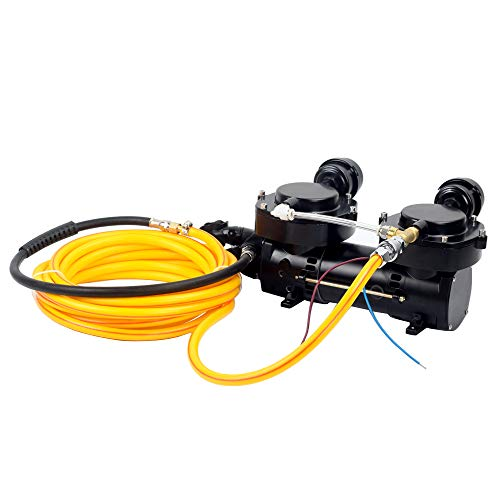 JUFENG 12V 160W Air Compressor, Hookah Dive System, Oil-Less Diaphragm Pump  with 10m Silicone Hose and Regulator
