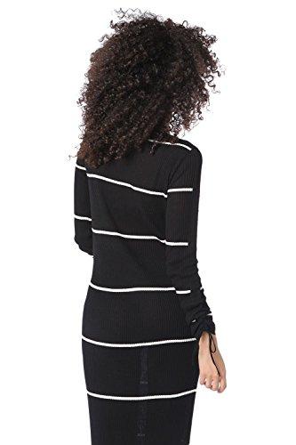 Q2 Mujer Vestido largo de punto de canalé a rayas negro