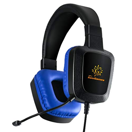 RPM Euro Games 3D Ultra Gaming Headphones with Flexible Mic for Mobile, Tablet, PC, PS4, Xbox One with 4 Color LED Light, Blue, Medium
