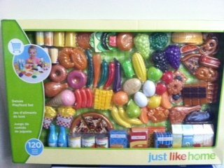 Just Like Home Toy Set : Just like home fruits and veggies 120 pieces deluxe playfood set by