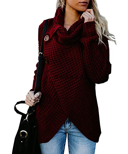 Ru Sweet Womens Turtleneck Sweater Cowl Neck Chunky Cable Knitted Loose Button Wrap Asymmetrical Pullover Tops S-XL