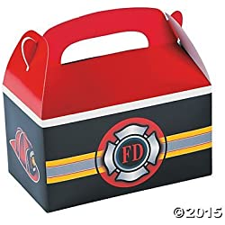 Set of 12 Firefighter Heroes Treat Boxes Party Supplies and Favors