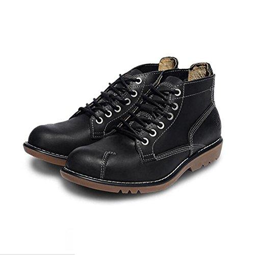 Mens Leder Freizeit Sehnen Schuhe Dress Herbst Business Stiefel Mode Rutschen Schwarzbraun Schwarz