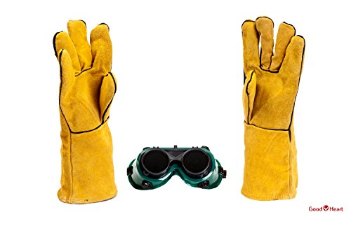 Cowhide Leather Welding Gloves With FREE Bonus Pair of Welding Goggles for Ultimate Set. Extreme Heat Resistant, Perfect For Tig Welders, Mig, and Other Industrial Work. Convenient Flip-Up Goggles by Goodheart (Image #2)