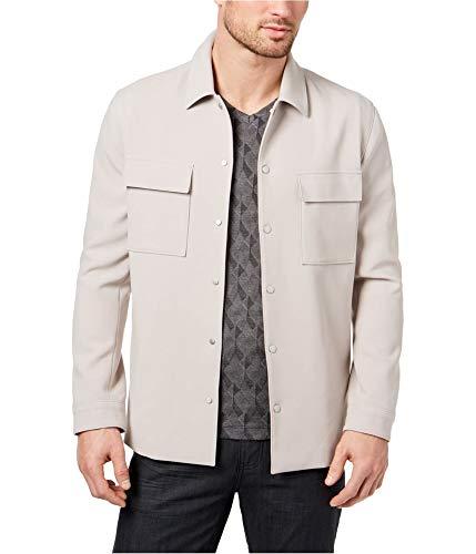 (Alfani Mens LS Shirt Jacket, Beige, Large )