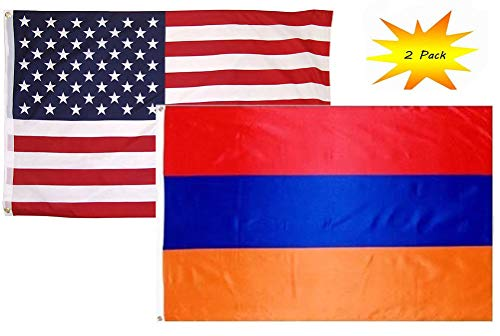(ALBATROS 2 ft x 3 ft 2inx3' Set (2 Pack) USA American with Armenia Country Flag Banner for Home and Parades, Official Party, All Weather Indoors Outdoors)