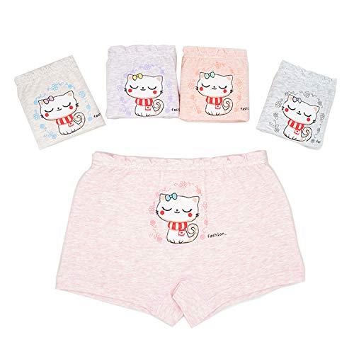 Panty for Little Girl Underwear Animal Kitty Soft Boy Short Boxer Briefs 5-7 yearsv White Purple