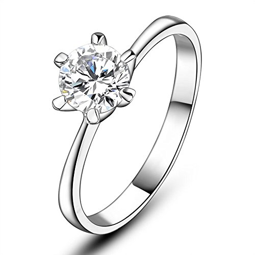 Dnswez 1ct Platinum Plated 6 Prong Setting Cubic Zirconia Solitaire Ring for Women Girl(8) (Carat Setting Ring Solitaire 1)