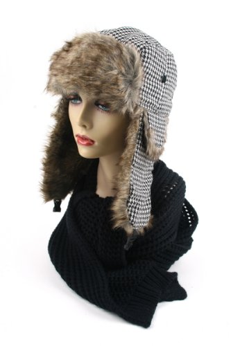 Women's Trapper Houndstooth Winter Ear Flap Hat 902HT (Black)