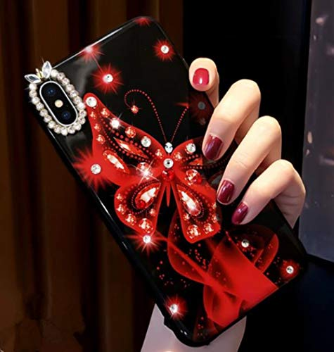 Lozeguyc iPhone 7 Bling Beauty Case,iPhone 8 Shiny Butterfly Dream Case 3D Cute Diamond Soft Shockproof Case for iPhone 7/8 4.7 Inch-Red