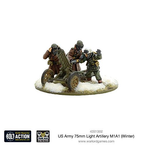 Warlord Games, US Army 75mm Light Artillery M1A1 (Winter) , Bolt Action Wargaming Miniatures