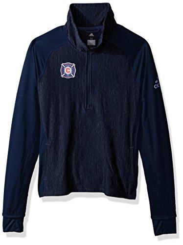 fan products of MLS Chicago Fire Logo Driven 2.5 Heathered Quarter Zip Jacket, Medium, Collegiate Navy