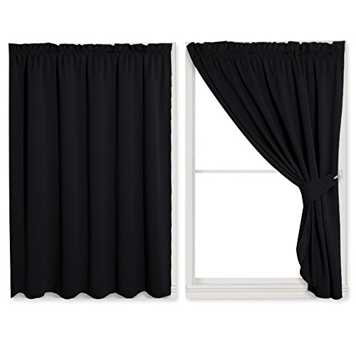 "PONY DANCE Vertical Blinds Blackout - Fastening Strips Hook Loop Curtains Shades Portable Window Drapery with Magic Strips for Travel No Track Need, 40"" Wide by 45"" Long, Black, Double Pieces"