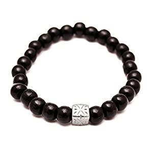 RAVE Mens Shamballa Wood Bead Bracelet Black with Silver Bead Charm