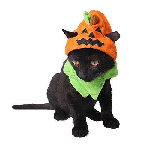Albabara Pet Halloween Veclro Pumpkin Hat Cap Adjustable Headwear Neckwear Cats Orange Costumes Accessories Apparel with Scarf with Ear Hole ()