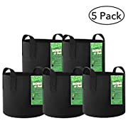 MoMA 5-Pack 7 Gallon Fabric Grow Bags - Plant Grow Bags - Nursery Garden Grow Pots - Black Fabric Pots - Heavy Duty Non-Woven and Durable Aeration Fabric Containers with Strap Handles