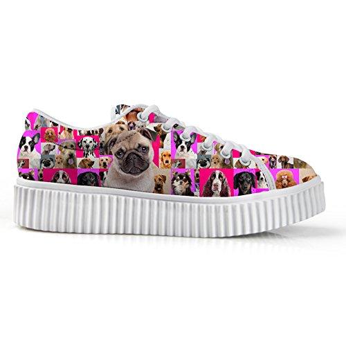 Hugs Idea Zapatos De Plataforma De Mujer Rosa Casual Zapatillas De Deporte Con Corte De Perro Pug
